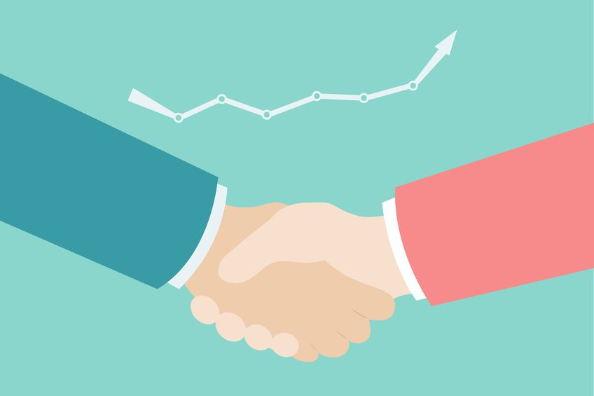 Graphic image of two people shaking hands, representing sales and marketing alignment.